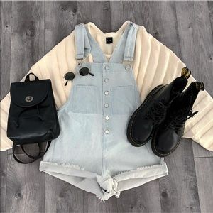 Button Up Denim Overalls